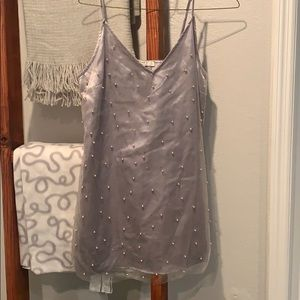 F21 / silver dress with sheer overlay / XL